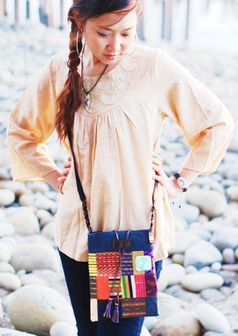 Handmade hill tribe artisan handwoven cotton patchwork cross-body bag with matching accessories pouch - Atlas Goods