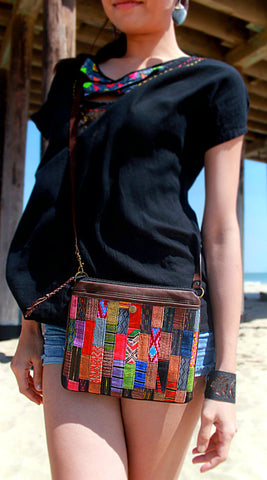 Handmade hill tribe artisan handwoven cotton patchwork crossbody/ shoulder convertible bag - Atlas Goods