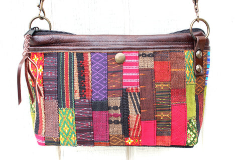 Handmade hill tribe artisan handwoven cotton patchwork crossbody/ shoulder convertible saddle bag - Atlas Goods
