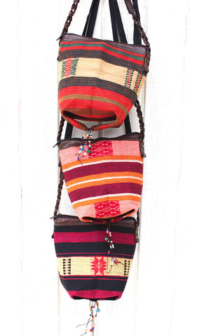 Handmade Naga hill tribe artisan messenger bucket bag: TH-BG-15N - Atlas Goods