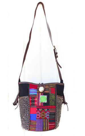 Handmade hill tribe artisan handwoven cotton patchwork crossbody bucket bag with leather strap - Atlas Goods
