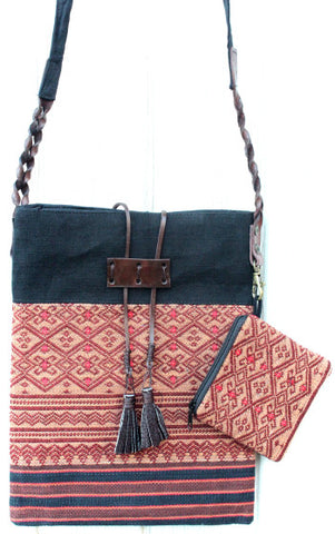Handmade Naga hill tribe artisan handwoven cotton cross-body bag with matching small accessories pouch - Atlas Goods