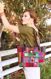 Handmade hill tribe artisan handwoven cotton patchwork with leather accent shoulder tote bag - Atlas Goods