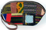 Handmade hill tribe artisan handwoven cotton patchwork with leather accent wristlet / clutch - Atlas Goods