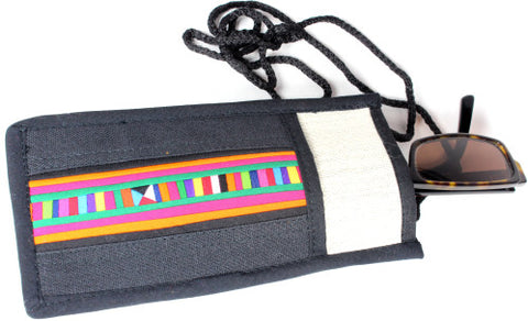 Handmade Lisu hill tribe intricate patchwork eyeglass / sunglass soft cases - Atlas Goods
