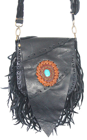 Handmade genuine leather bohemian saddle bag with fringe and stone accent - Atlas Goods