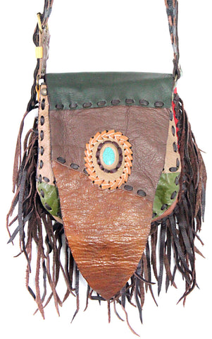 Handmade genuine leather bohemain saddle fringe bag with stone accent (Multi color patchworks) - Atlas Goods