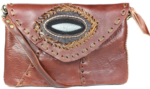 Handmade genuine cowhide leather adjustable clutches/purses with stingray leather accent : TH-LB-17 - Atlas Goods