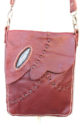 Handmade bohemian leather tablet messenger bag with stingray accent - Atlas Goods