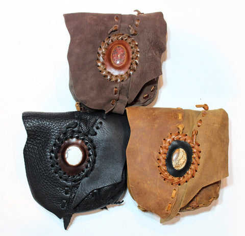 Handmade leather possible bag bohemian/ hippy style with premium stone accent