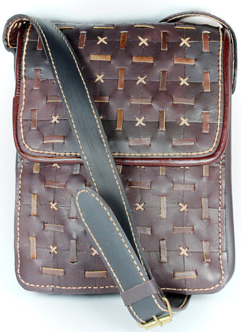 Handmade artisan woven leather messenger bag - Atlas Goods