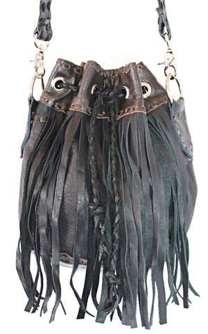 Handmade genuine leather bohemian bucket fringe bag - Atlas Goods