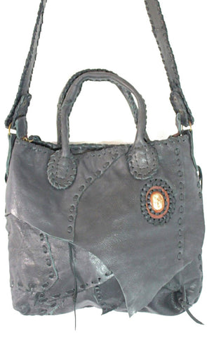 Handmade genuine leather bohemain messenger / tote convertible bag with hand selected semi- precious stone accent - Atlas Goods