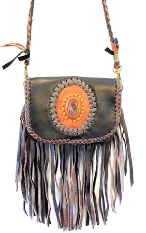 Handmade genuine leather bohemian smart phone bag with fringe and stone accent - Atlas Goods