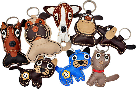 Handmade Leather animal keychains