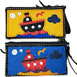 Handmade genuine leather collage art clutch/ wallet-Tug boat design