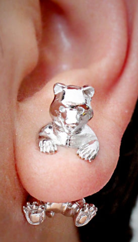Hand craft Pokee Tru 3D earring double sided post stud Animal style-Bear design
