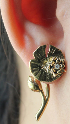 Hand craft Pokee Tru 3D earring double sided post stud feminine flower style- Lotus flower design