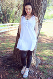 Women white plain cotton sleeveless top