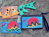 Handmade genuine leather collage art coin purse/ wallet-Shooting star design