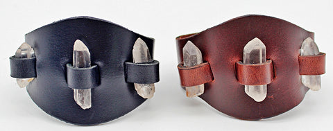 Handmade genuine  leather gem stone crystal holder single strap bracelets/ cuffs (With stones)