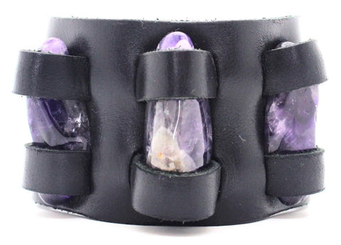 Handmade genuine  leather gem stone crystal holder bracelets/ cuffs double bands (With stones)
