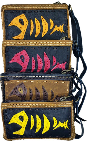 Handmade genuine leather collage art coin purse/ wallet-Fish bone design