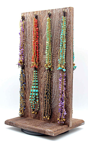 Spinner display rack with 64 piece prepack of Handmade macrame gemstone bracelets(Happy Bracelet)
