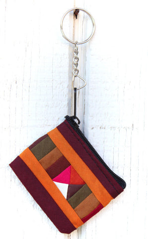 Handmade Lisu hill tribe intricate patchwork zip key chain( 24 pack) : TH-KC-LISU - Atlas Goods