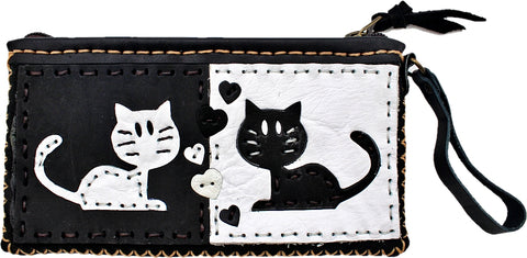 Handmade genuine leather collage art clutch/ wallet-Love cat design