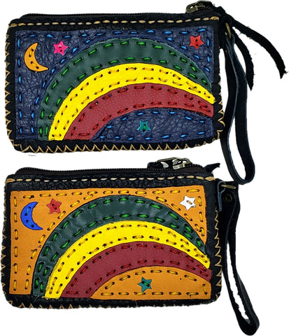 Handmade genuine leather collage art coin purse/ wallet-Rainbow design