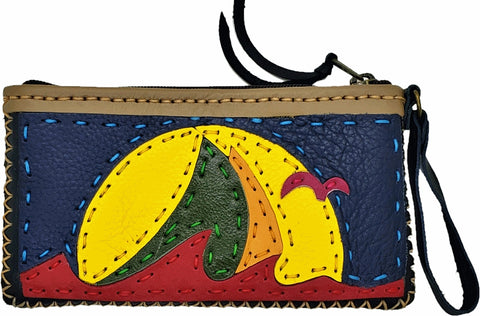 Handmade genuine leather collage art clutch/ wallet-Sail boat design