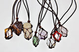 Handmade interchangeable macramé cage necklaces with tumbled stone (minimum 12 pcs.)