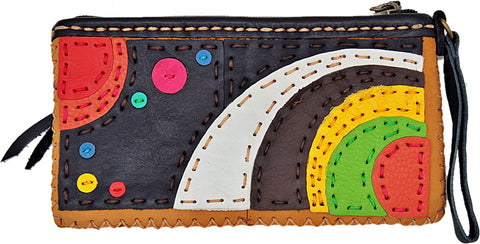 Handmade genuine leather collage art clutch/ wallet-Solar system design