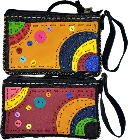 Handmade genuine leather collage art coin purse/ wallet-Solar system design