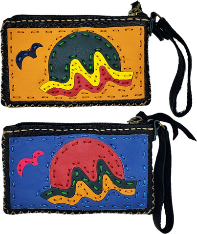 Handmade genuine leather collage art coin purse/ wallet-Sunset design