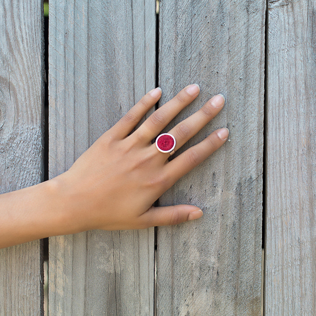 Silver Ring - Red
