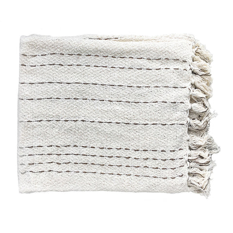 Cream Stripe Throw