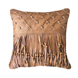 Shaggy Leather Tan Medium Cushion