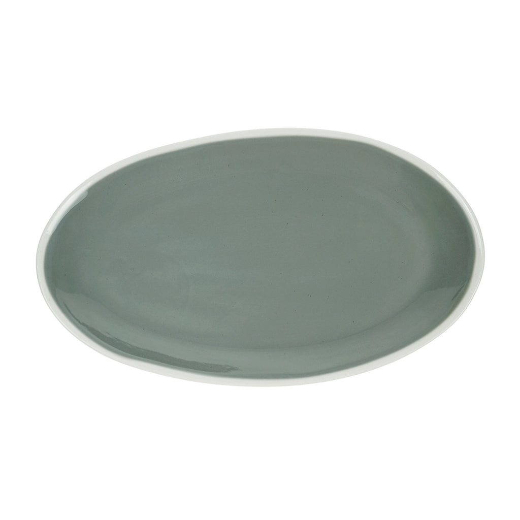 Medium Oval Plate in Light Grey (2Tone Collection)