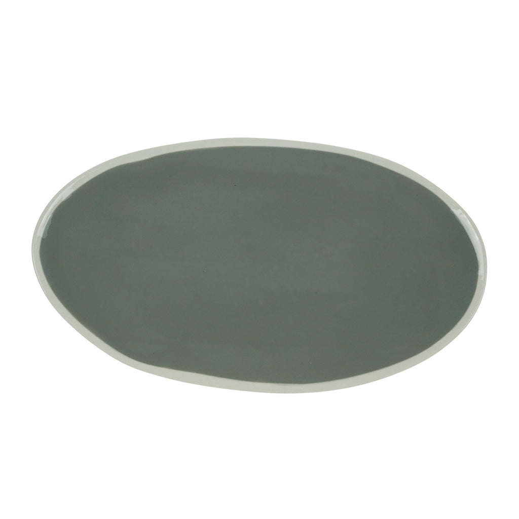 Small Oval Plate in Light Grey (2Tone Collection)