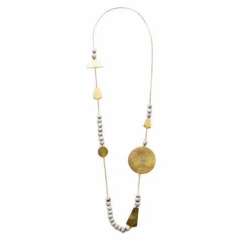 Sabah Necklace - Grey & Gold