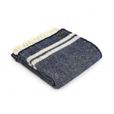 Pure Wool Throw - Navy & Silver Grey