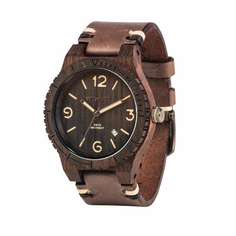 Alpha Swiss Black Rough Wood Watch