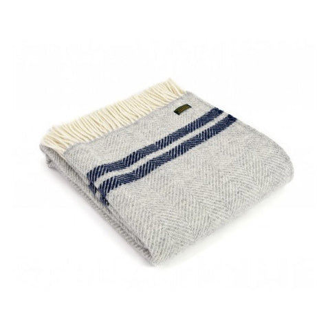 Pure Wool Throw - Silver Grey & Navy