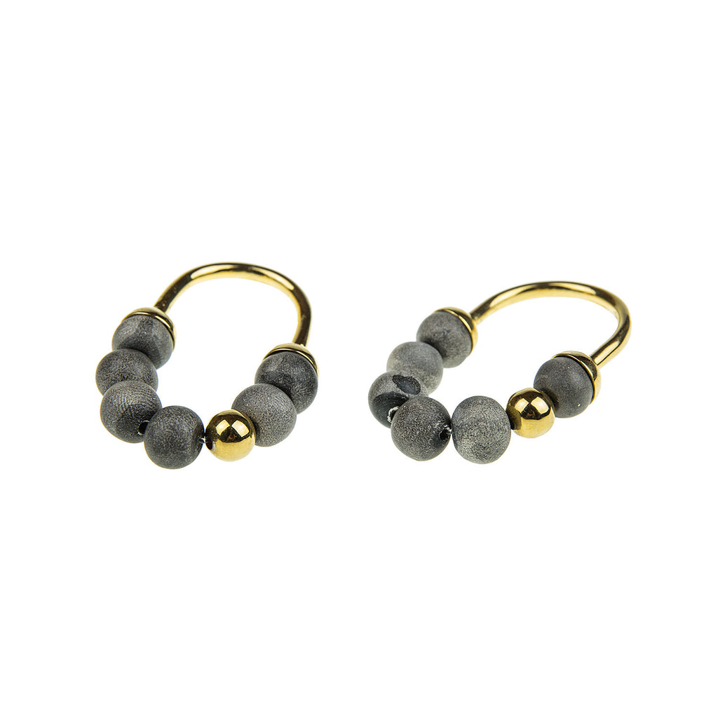 Zola Short Earrings - Charcoal & Gold