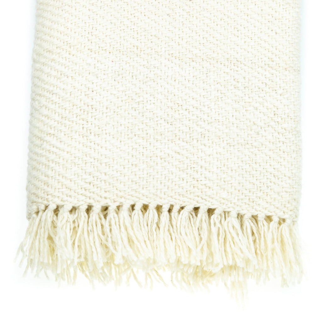 Cream Wool Throw