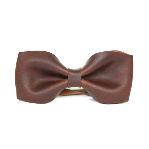 Leather Bow Tie - Brown