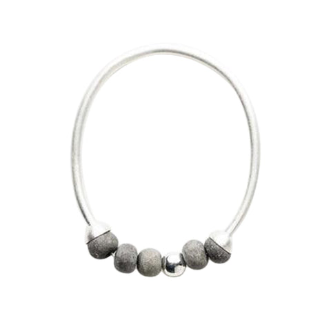Dalilah Bangle - Charcoal & Silver