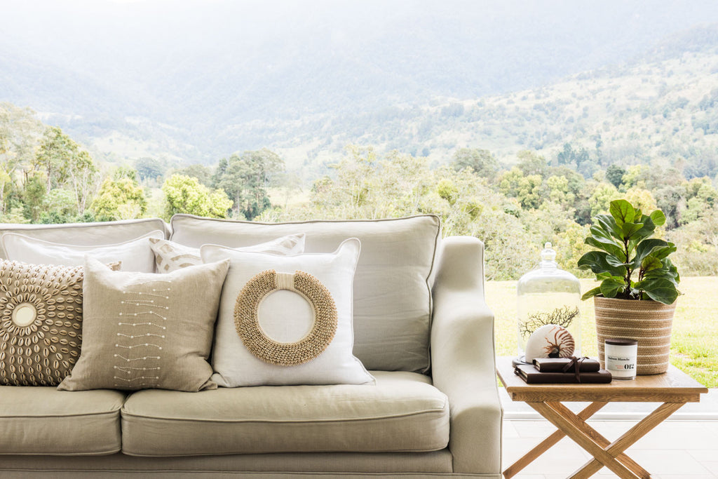 Piped Linen White Lounge Cushion
